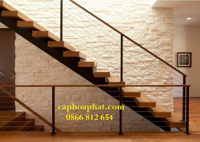 Cầu thang dây cáp được tối giản phần lan can, tay vịn