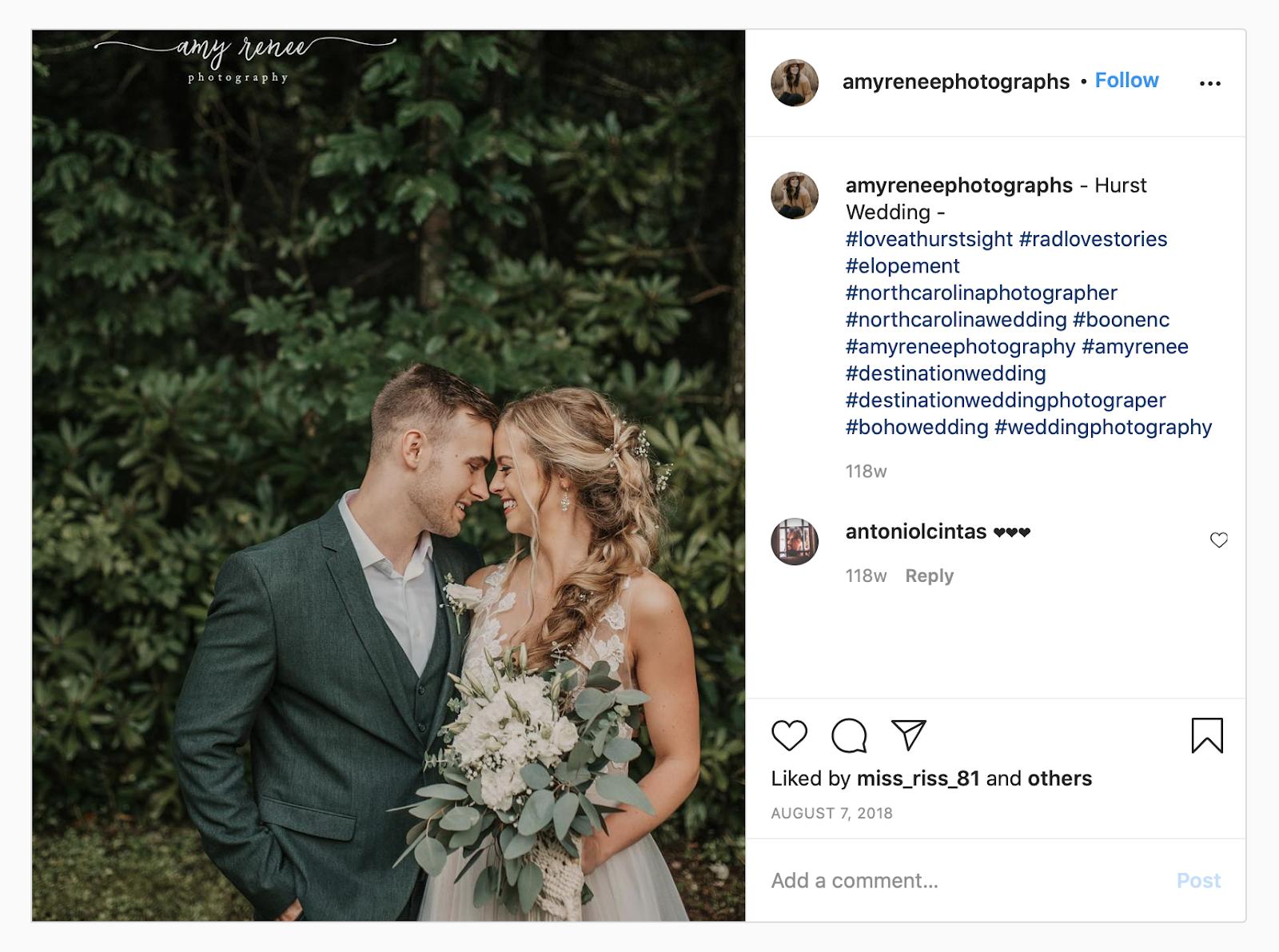 wedding hashtag example