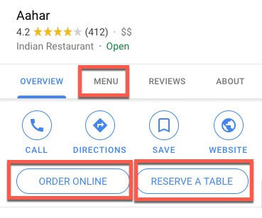 google my business for restaurants order reserve