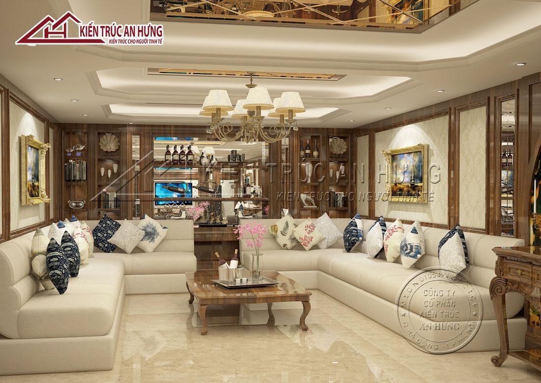 Với tông màu chủ đạo là trắng xám kết hợp nâu gỗ cùng các đồ trang trí nội thất, phòng sinh hoạt chung đẹp nhẹ nhàng, thanh lịch và quý phái