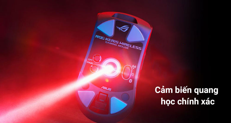 Chuột gaming không dây Asus ROG Keris Wireless (P513) (Đen) | Cảm biến quang học chính xác