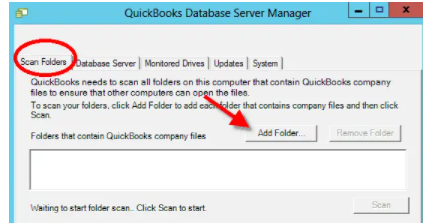 Add New Folder through Quickbooks Database Server Manager
