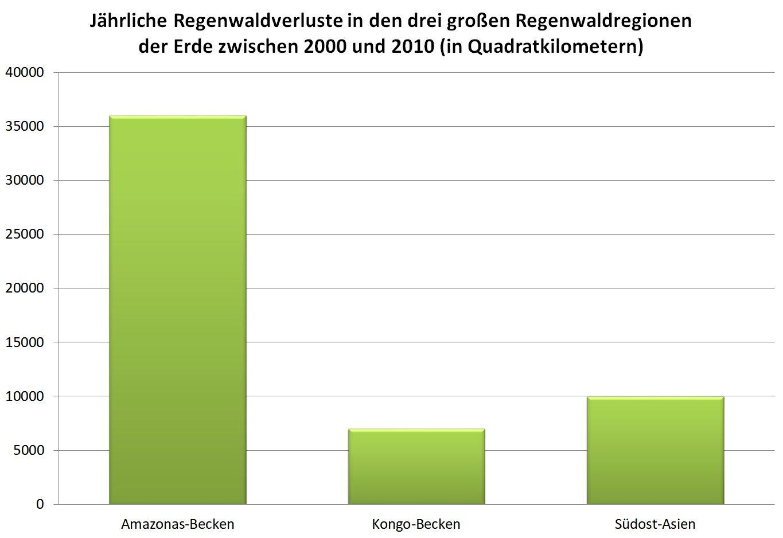 Bild: jährliche Regenwaldverluste zwischen 2000 und 2010
