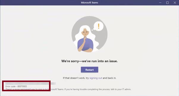 Microsoft Teams Error 80070003