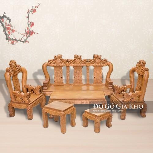 Bàn ghế gỗ gõ đỏ tay 12 chạm nghê hạt - BG161