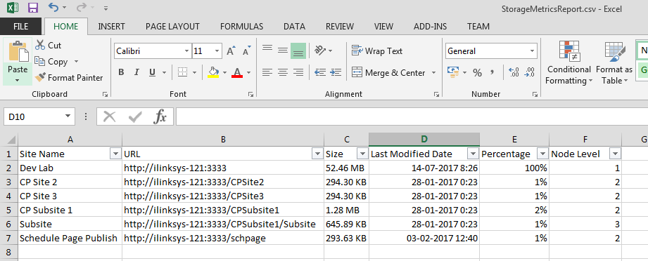 Excel sheel view of Storage Metrics