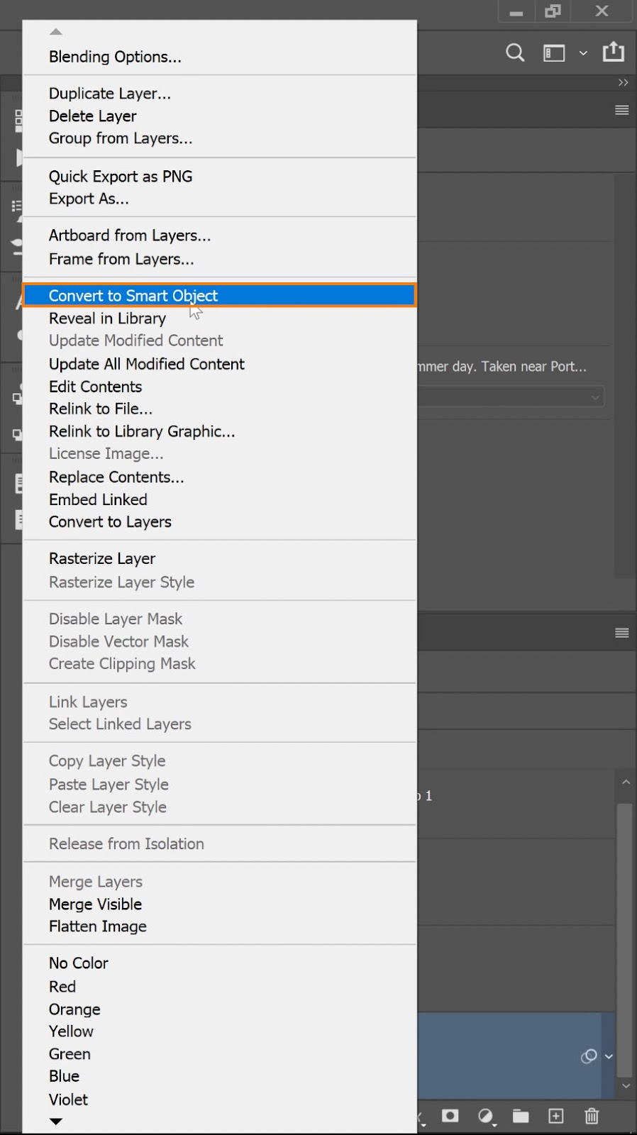 Select the Background layer > right-click > Convert to Smart Object