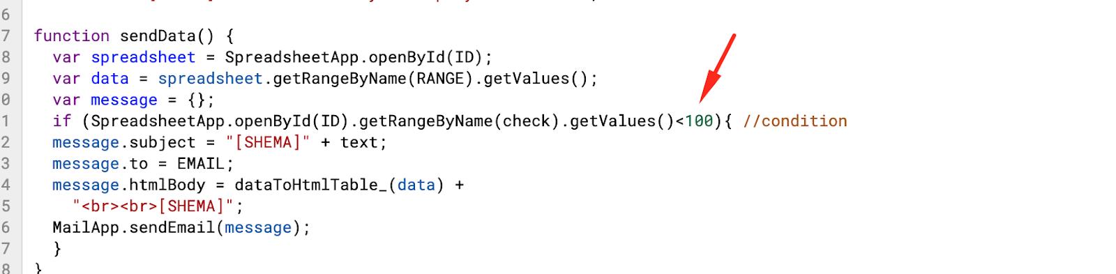 Условие для отправки данных из Google Spreadsheets на email / SHEMA