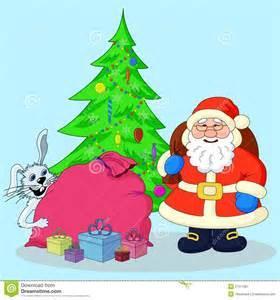 ... : Święty Mikołaj Choinka królik i prezenty. Wektorowa ilustracja