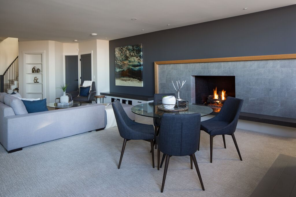 NW Calgary interior design family room fireplace, stone surround modern traditional