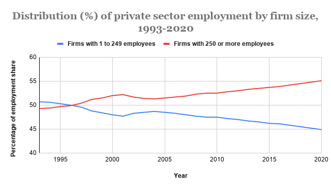 Distribution (%) of private sector employment by firms size, 1993-2020
