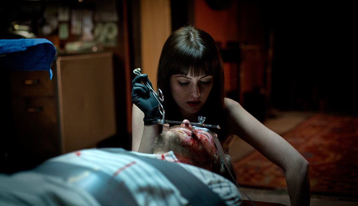 Katharine Isabelle as Mary and David Lovgren as Dr Grant in American Mary