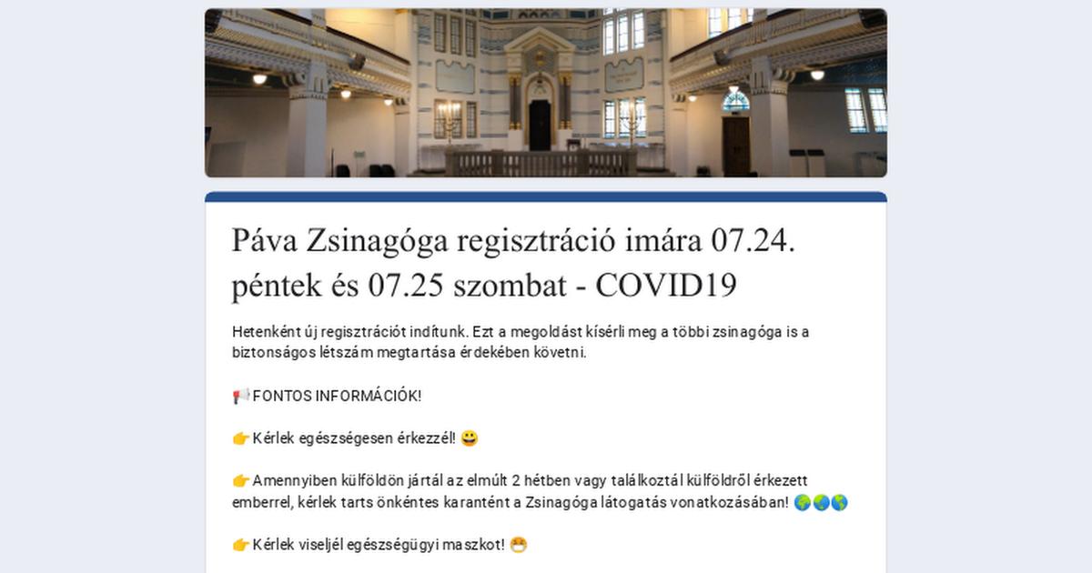 Páva Zsinagóga regisztráció imára 07.24. péntek és 07.25 szombat – COVID19