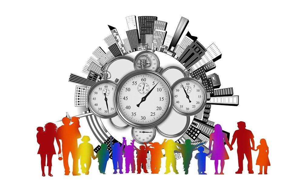 Time, Time Management, Family, Stopwatch, City, Skyline