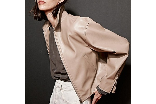 Current Single Leather Jacket 3 Colors in Sand Beige from W Concept