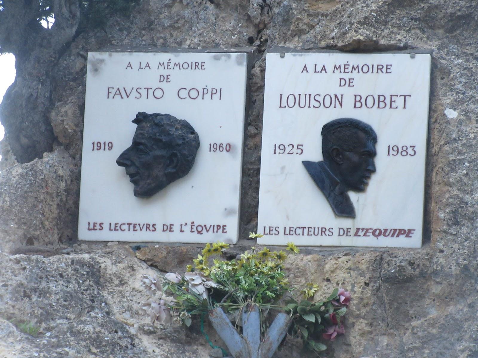 Bike climb of Col d'Izoard from Briancon - memorial of Fausto Coppi and Louiso Bobet at the col