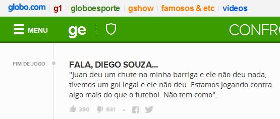 Diego Souza reclama que Flamengo foi favorecido