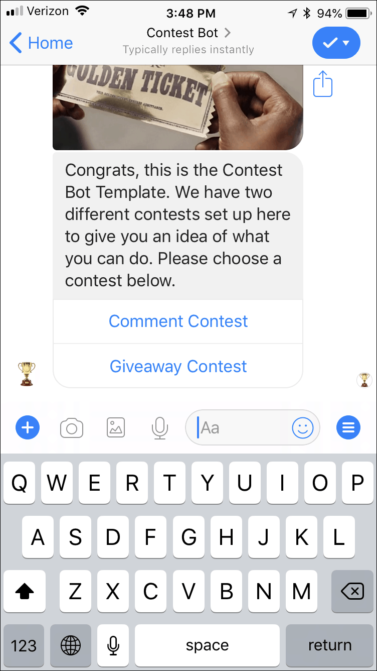how to do a giveaway on Instagram with a chatbot