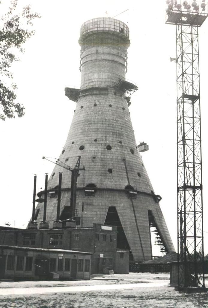 Строительство телебашни Останкино основание