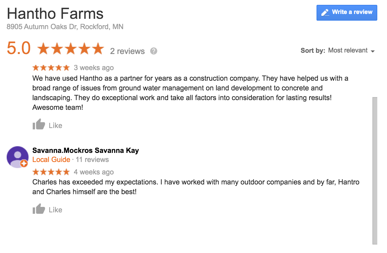 Hantho Outdoor Services has great reviews!