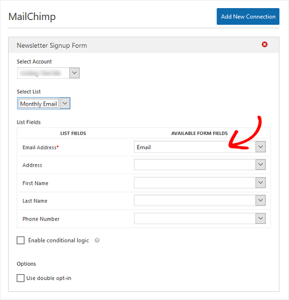 Mapping Mailchimp form fields
