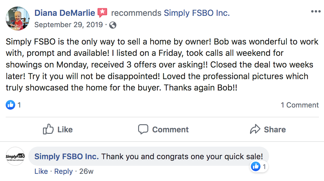 Simply FSBO Facebook Review #2