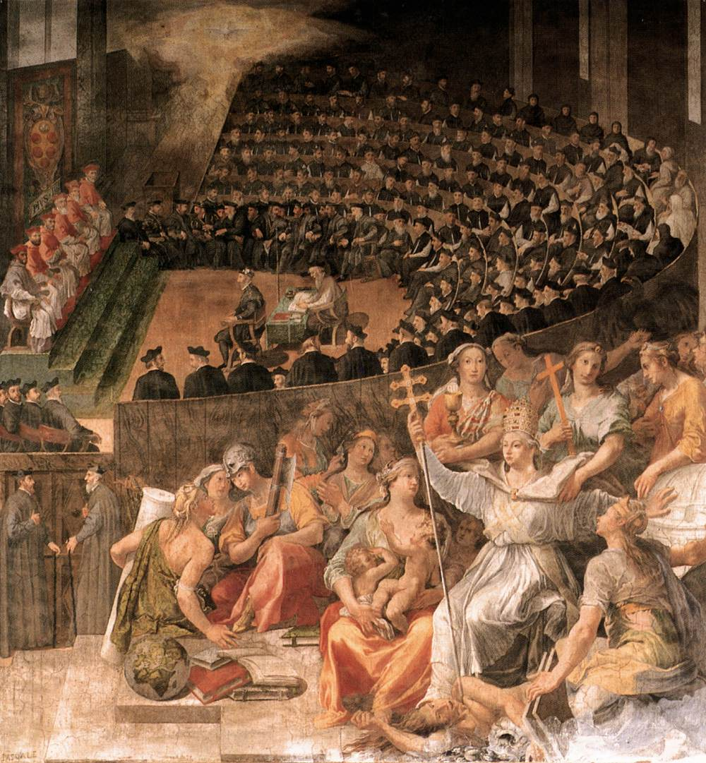 A highly dramatized painting of the Council of Trent with dozens of church officials.