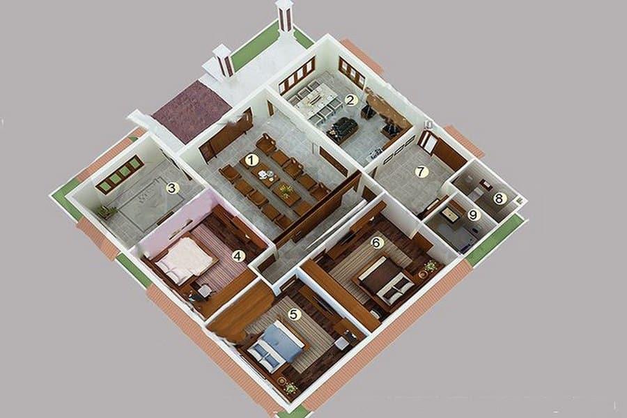 Nhà cấp 4 5x20 3 phòng ngủ