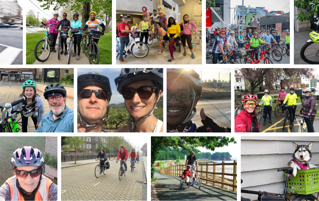 A mosaic of photos of happy riders