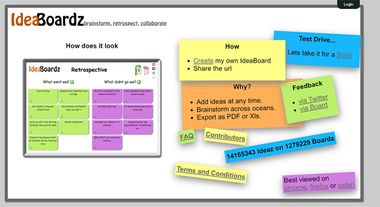 site para brainstorming online ideaboardz