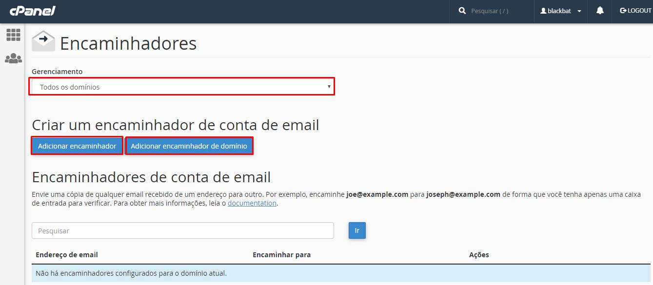 opções de redirecionamento de email no cpanel