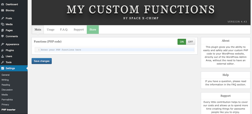Add Custom PHP Code to WordPress Sites with a plugin
