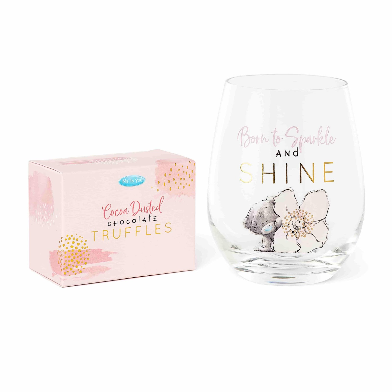 Clintons' me to you stemless glass and truffles gift set