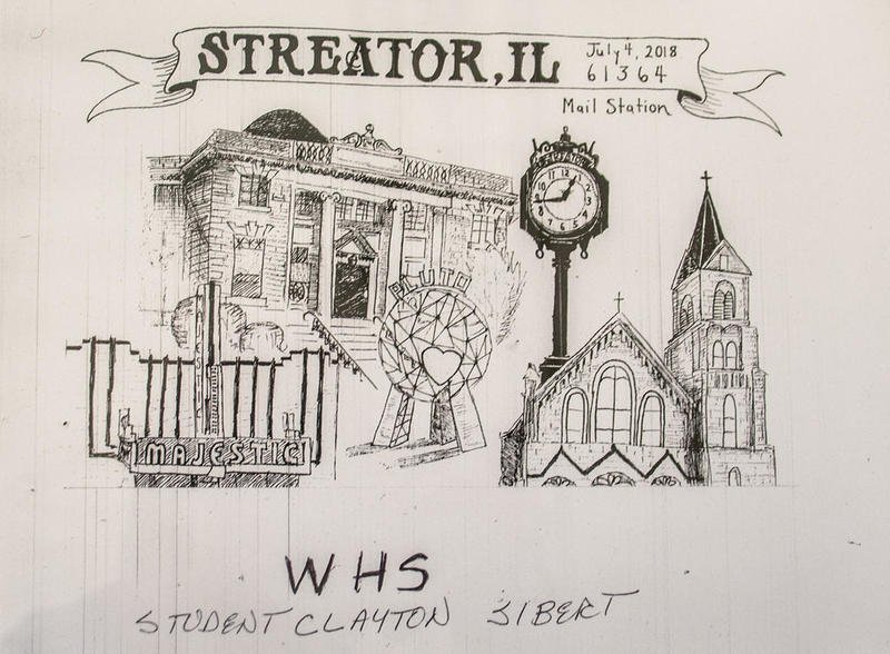 Clayton Sibert, of Woodland, said he was inspired in his drawing by Streator's architecture in his design. His drawing of city landmarks was voted to be the commemorative sesquicentennial postmark.