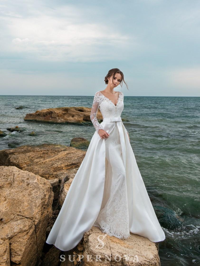 свадебные платья с поясом бантом оптом