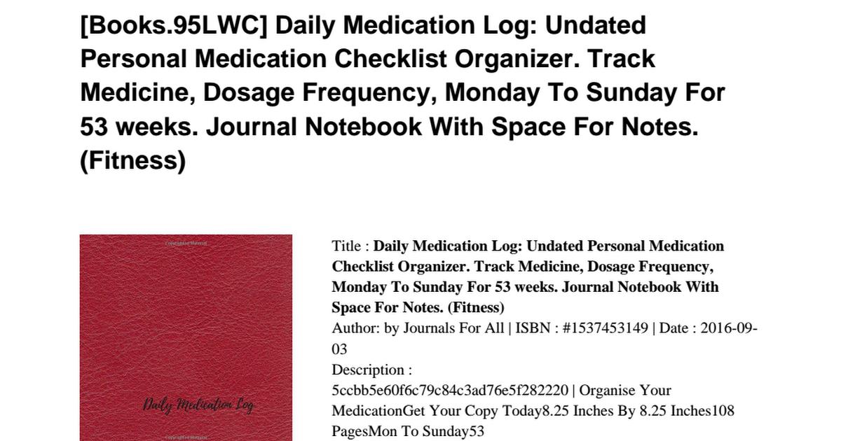 daily medication log checklist organizer