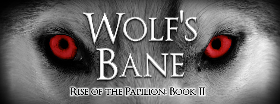 wolf's eyes glowing red, banner to advertise coming book