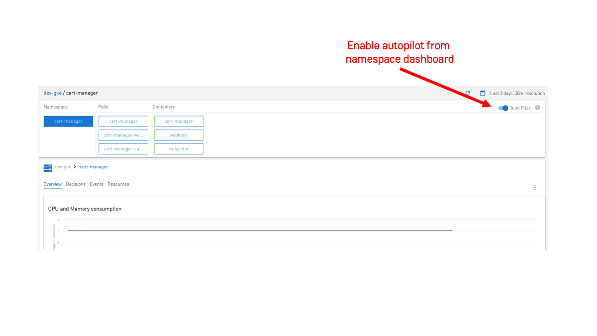 enable namespace from namespace dashboard