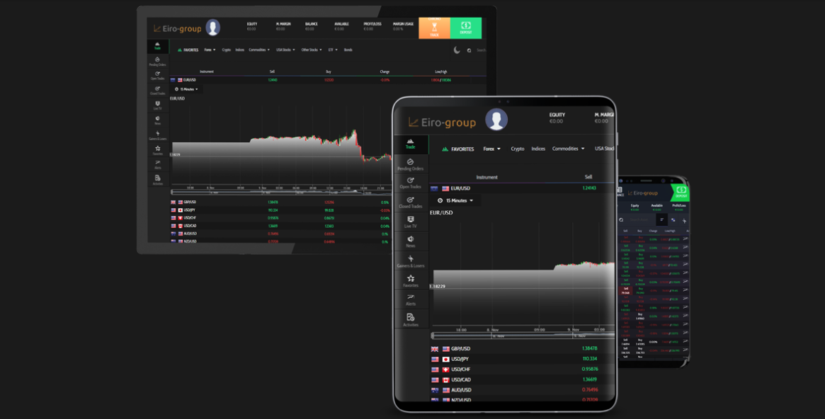 Eiro Group web-based trading platform. Accessible on all mobile devices and desktops.
