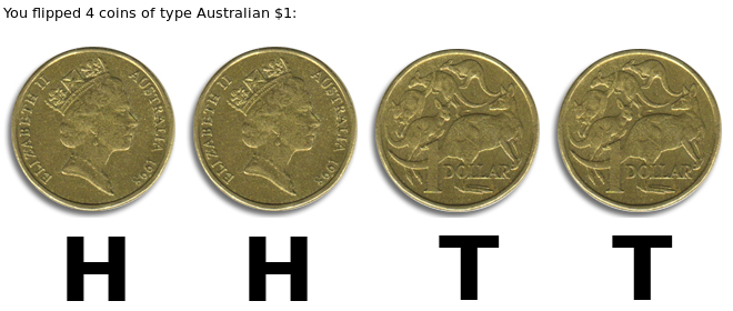 4.1 Sequence of heads and tails when flipping an Australian $1 coin 4 times
