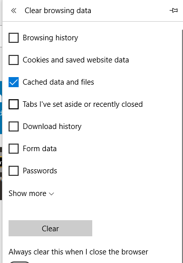 Edge Cache Data and Files Clear