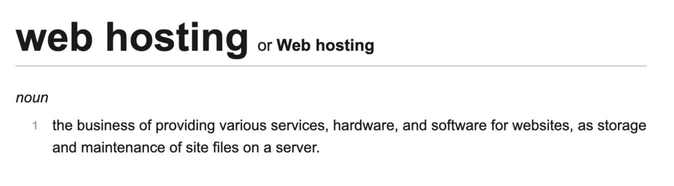 Web hosting woordenboek definitie