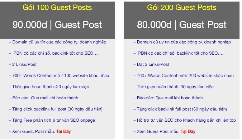 Đơn vị cung cấp rất nhiều gói Guest Post cho khách hàng lựa chọn