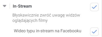 Umiejscowienia reklam na Facebooku - Instream (screen)