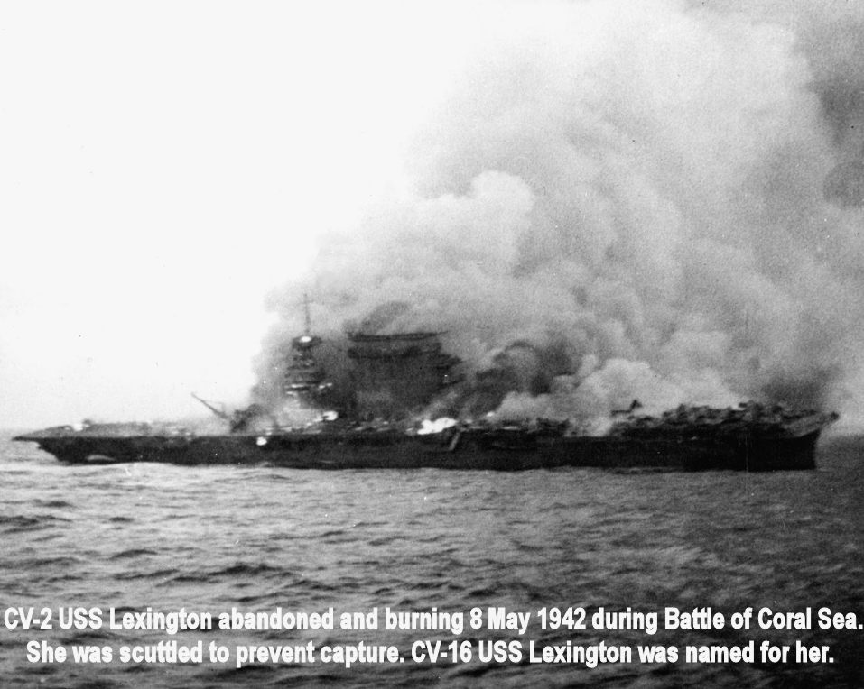CV-2 Lexington Burning in the Battle of Coral Sea.jpg