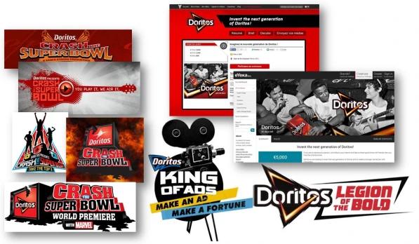 Colaboração coletiva no projeto de publicidade da Doritos.