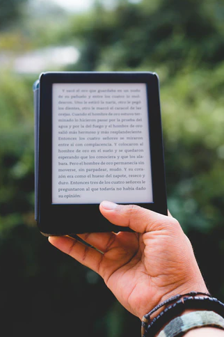 an ebook on a kindle reading device