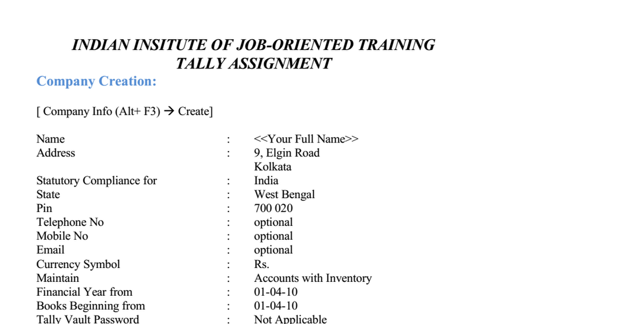 Tally ERP 9 Assignment pdf - Google Drive