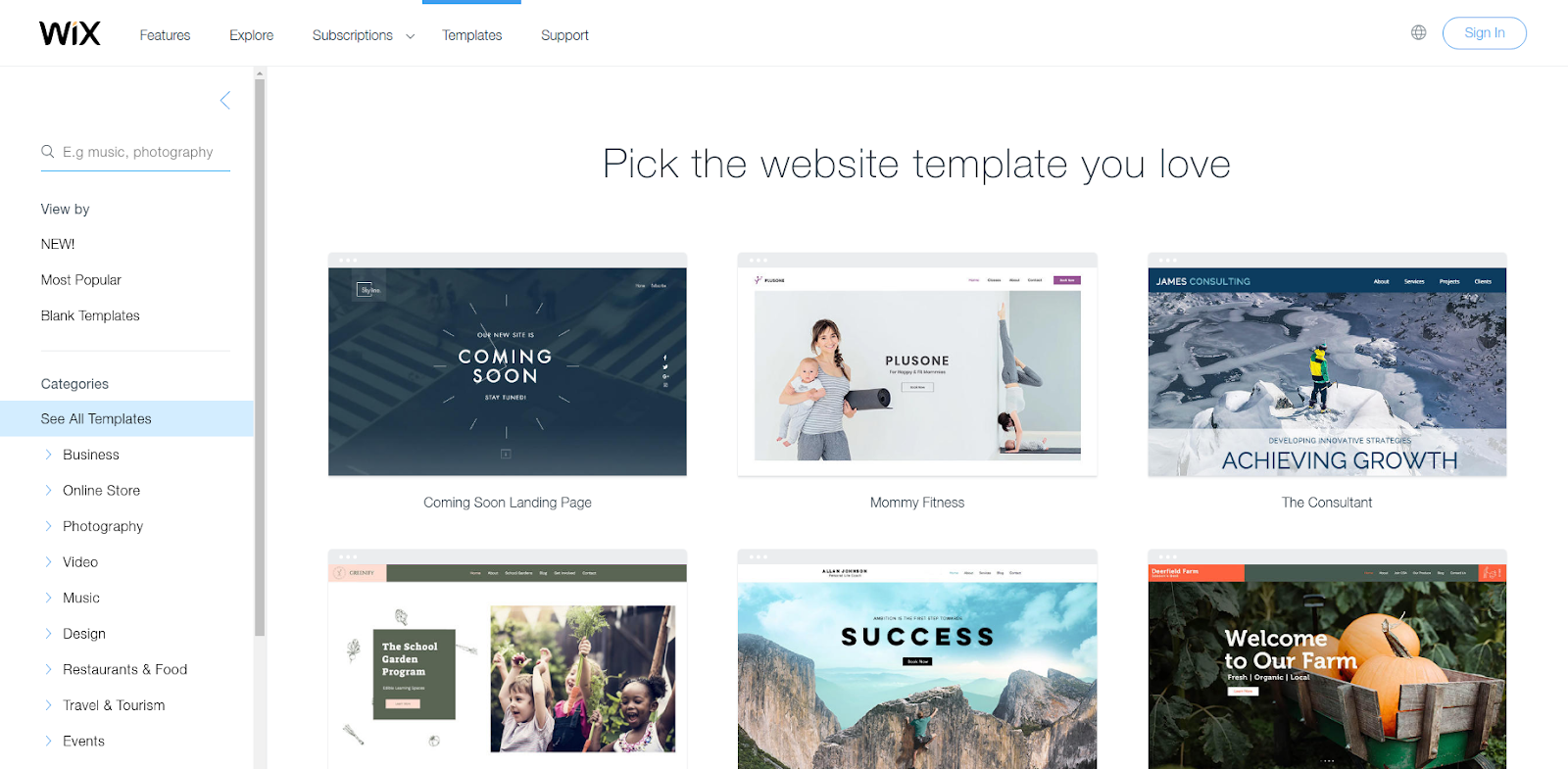 wix website builder choose a template