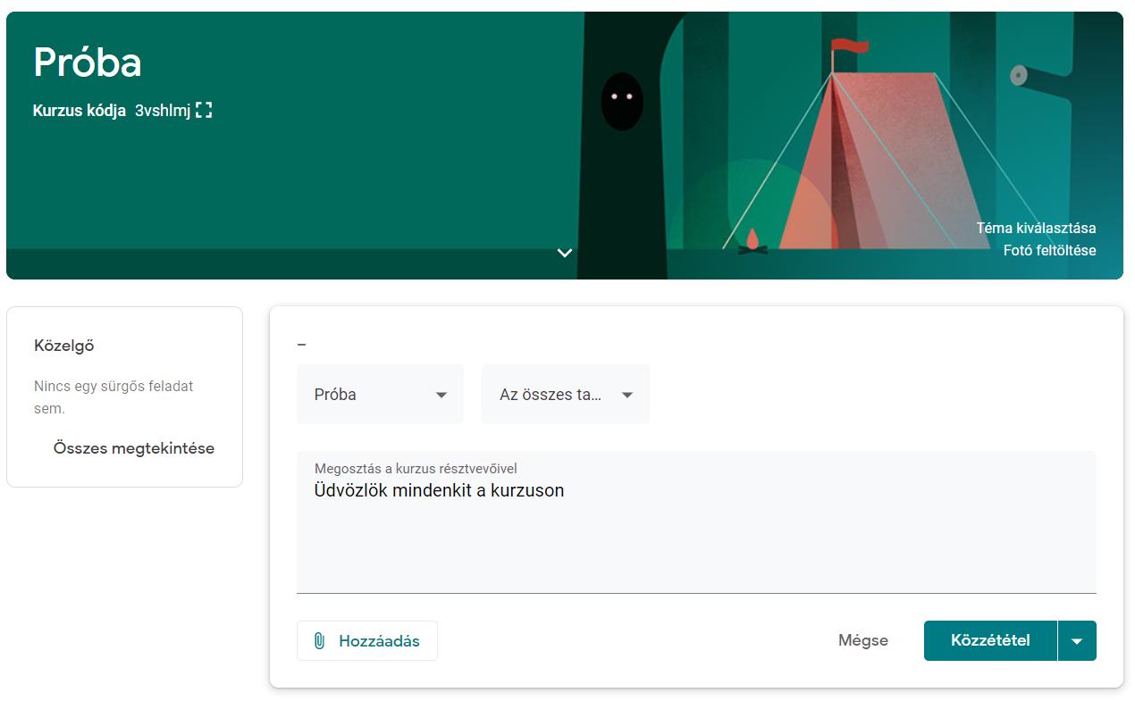 Közlemények létrehozása Google Classroom-ban